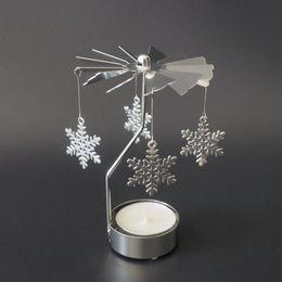 $enCountryForm.capitalKeyWord Australia - Multi-shape Romantic Spinning Rotary Metal Carousel Light Stand Candle Holder Christmas Decoration Color Sliver