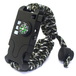 umbrella rope UK - Outdoor Survival Travel Emergency Remote SOS Laser Paracord Bracelet Camping Lighting LED Umbrella Rope Braided Bracelet