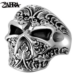 ddc5bb23b1 Zabra 100% Real 925 Sterling Silver Sugar Skull Ring Men Adjustable  Handmade Rings For Male Punk Rock Gothic Jewelry C19041203