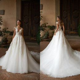 cap sleeve elegant wedding dresses Australia - Elegant Lace Applique A Line Wedding Dress Cap Sleeves V Neck Chapel Train Bohemia Garden Bridal Gowns 2020 Vestidos de Novia