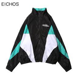 Full Zip Jacket Polyester Australia - EICHOS Men Women Vintage Color Block Patchwork Windbreaker Fashion Loose Full Zip Up Track Jacket Men Hip Hop Jackets Streetwear