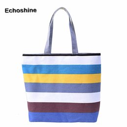 $enCountryForm.capitalKeyWord Australia - Excellent Quality Summer Style Vintage Canvas Bag Womens Shoulder Bags Ladies Beach Bag Strip Tote Purse Handbag A8