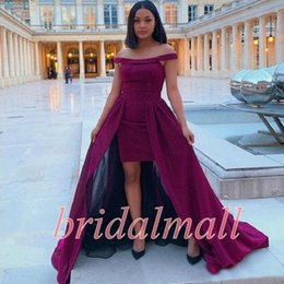 sweet 16 dresses hi lo NZ - Off-shoulder 2019 Hi Lo Prom Dresses With Overskirt Above Knee Celebrity Gowns Formal Evening Wear Grape Satin Sweet 16 Girl Party Dress