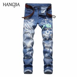 $enCountryForm.capitalKeyWord NZ - Hip Hop Blue Jeans Men Slim Fit Denim Trousers Men 3D Skull Double Printed Biker Jeans Cotton Straight Pants 2019 Fashonable