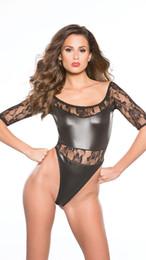 affb9a6c5f11 Black PU Leather Patchwork Jumpsuit Lace Half Sleeves Transparent Sexy  Bodysuit Clubwear Hot Ladies bodycon playsuit Teddies