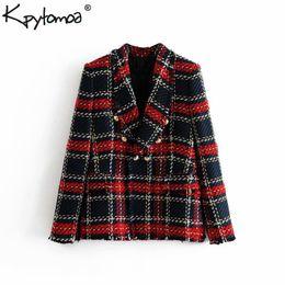 f49ba4568 Vintage de doble botonadura deshilachada con chaquetas de tweed chaquetas  mujer 2019 bolsillos de moda a cuadros para mujer prendas de vestir  exteriores ...