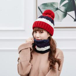Knitted ladies hats online shopping - Women Knitted Scarf Hat Set Fashion Warm Winter Pom Skullies Beanie Solid Hat Cute Lady Neckscarf Female Outdoor Travel Caps TTA1308
