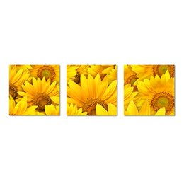 Sunflower Pictures Australia - 3 Pieces Canvas Printed Sunflower Pictures Yellow Flower Photo Canvas Prints Landscape Painting for Bedroom Kitchen Office Walls