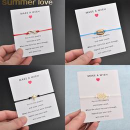 Discount make wish bracelets - 2019 Make A Wish Card Adjustable Bracelet Golden Shell Pineapple Coconut Tree Charm Romantic 7 Colors Wax Rope Bracelet
