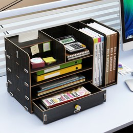 Office Drawer Box Australia - Office supplies desktop storage box wooden drawer type stationery book magazine tissue paper finishing storage rack mx01251605