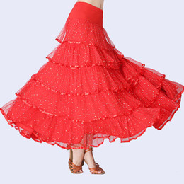 Wholesale ballroom dresses for tango for sale - Group buy New Flamenco Skirt Latin Salsa Flamenco Ballroom Dance Dress Skirt For Women Spain Sequins Waltz Tango Dancing Half Skirts