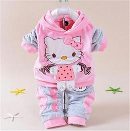 d9b76d2fb Baby Girls Clothing Sets Cartoon Pattern Kitty Newborn Boy Brand Velvet  Hoodie and Pants Twinset Autumn Spring Kids Infant Suit Sweatshirt