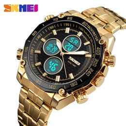 Wholesale SKMEI Watch Men Relojes Deportivos Sports Watches Golden Stainless Steel Dual Time Digital Quartz Wristwatches Male Clock