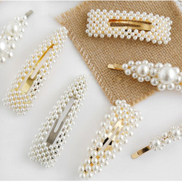 $enCountryForm.capitalKeyWord Australia - Hot Hot Style High Quality Simple Pearl Hair Clips Geometric Metal Side Clips Gold Silver Plated Hairclips Fashion Jewelry Gifts 10 Options