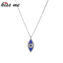 blue evil eye chain 2019 - kissme Exquisite Blue Crystal Evil Eye Pendant Necklaces For Women Gifts White Gold Color Long Chain Fashion Jewelry Acc