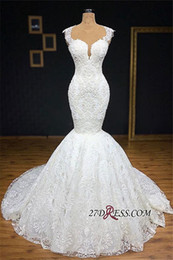 Full length mermaid wedding dresses online shopping - Gorgeous Jewel Neck Real Images Full lace Mermaid Bridal Gowns Bottom Appliques Covered Sleeveless Scoop Wedding Dresses Plus Size