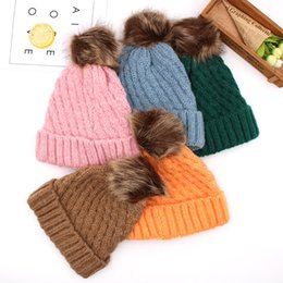 $enCountryForm.capitalKeyWord NZ - Winter Women Knitted Hat Men Warm Pom Pom big Fur ball Wool Hat Ladies Skull Beanie plain Crochet Ski Outdoor Caps LJJA3089