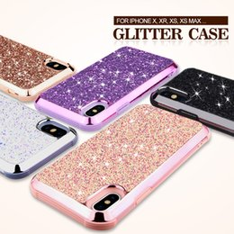 Iphone Diamond Back Australia - Luxury Diamond Crystal Glitter Bling Hybrid Dual Layer 2 in 1 TPU PC Back Cover Case For iPhone XR XS Max X 8 7 6 6S Plus