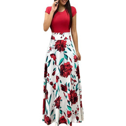8d5fd86079f Ankle Length Evening Dresses Sale UK - New Europe And America Style Women  Floral Print Maxi