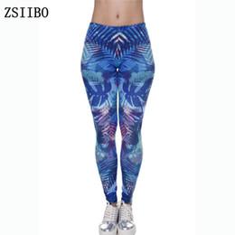 bohemian leggings 2019 - New Fashion Women Leggings Tropical Leaves Printing Blue Fitness Legging Sexy Silm Legins High Waist Stretch Trouser Pan