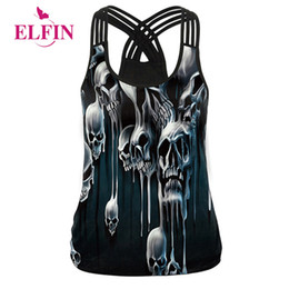 efaf875509e Women Summer Tank Tops 2018 Sexy Vests Hollow Out Tops 3d Skull Print Camisole  Punk Clothing Ws7410r Y190123