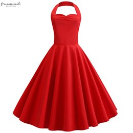 rockabilly pin up UK - 2020 Red Halter Party Dress Women Summer Big Swing 60S 50S Rockabilly Robe Vintage Knee Length Pin Up Dresses With Belt Plus