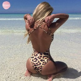 Lace up bodysuit online shopping - Jumpsuits Sexy Hot Up Summer Beachwear Women Bodysuit Crisscross Backless Lace Swimwear Leopard Skinny V Neck Sleeveless Cloth
