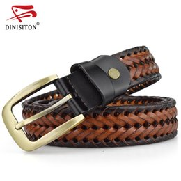 mens wide leather belt NZ - DINISITON Braided Belt For Mens Woven Belts Luxury Genuine Leather Cow Straps Hand Knitted Designer Men For Jeans Girdle Male T200113