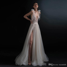 $enCountryForm.capitalKeyWord Australia - Hot Cheap Vestido de noiva Fairy A Line Wedding Gowns Sexy V Neck Backless Side Slit Bride Formal Dress Robe de mariee Custom