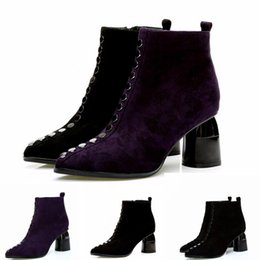 purple martin boots NZ - Hot sell Winter Classic Snow Boots New Short Mini Brand Popular Martin Leather Warm Boots Fashion High Heels Women's Snow Boots Shoes