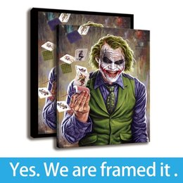 Art Canvas Prints Australia - Framed Wall Art Poker Joker Painting Arts HD Print on Canvas Comic Villain Artwork - Home Decoration - Ready To Hang