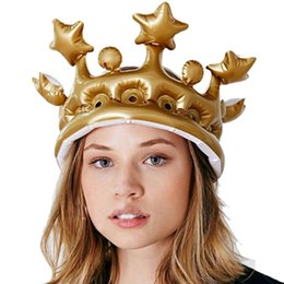 Discount children s toy crowns Hot Sales Inflatable Children\'s Event & Supplies Festive & Party Supplies Crown Cap Inflatable Toy Hat Party Props