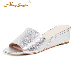 $enCountryForm.capitalKeyWord Australia - Nancyjayjii Women shoes Adult Slippers Black Silver Solid Wedges High heel Indoor Summer Basic Casual Fashion Leisure Classic