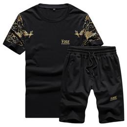 $enCountryForm.capitalKeyWord NZ - BROWON Brand Summer Short Tracksuit Men Cotton T-shirt + Shorts Sportwear Mens Sports Suits Summer Clothes for Men