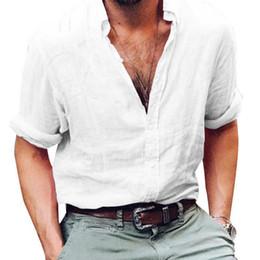 Linen Slim Shirts Australia - Mens Shirts Long Sleeve Business Shirt Brand Linen Male Slim Fit Casual Solid Flax Dress Shirt Man S-3xl High Quality
