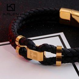Cross Cuffs stainless steel online shopping - Kalen Stainless Steel Men s Bracelet Gold Silver Cross Cowhide Leather Cuff Wristband Bracelets For Men Hip Hop Esposas Jewelry