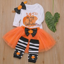 baby girls party dress designs Australia - Party dress design new Halloween children's clothing long sleeve pumpkin striped baby clothes skirt four-piece girl Halloween set European a