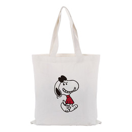 $enCountryForm.capitalKeyWord Australia - Cute Cartoon Dog Canvas Tote Bag Handbag Custom Print Logo Text DIY Daily Use Eco Ecologicas Reusable Shopping Bag Recycle