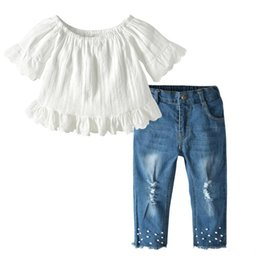 Discount lace shorts jeans Girl kids clothes Set children clothing A word collar Lace T-shirt Tops+Pearl Denim Pants Jean 2PCS Kids Designer Clothe