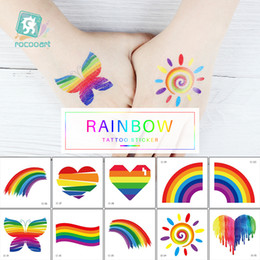 Rocooart Different Rainbow Tattoo Sticker gay pride sticker Face Cosmetic Lovely Body Art Temporary Colorful Sticker on Sale
