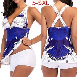 Plus Size Swimdress Swimsuit Woman Australia - Sport Large Size Bikini Set Women Summer Printed Swimming Suit Tankini Plus Size Swimwear Two Piece Print Push Up Swimsuit Xxxxl J190519