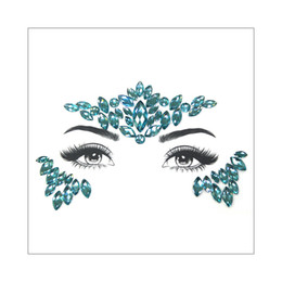 gems stickers Australia - DIY New Green Adhesive 3D Face Diamond Jewels Gems Temporary Tattoo Sticker Body Glitter Crystal Rhinestone Ornament Cosplay Party Accessory