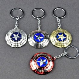 superhero keychains UK - 10pcs lot Movie Theme Party Gift The Avengers Captain America Shield Keychains Alloy Superhero Ringchains For Halloween MX190816