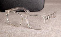 Venta al por mayor de Nuevas gafas de marco de anteojos Chrome marco de las lentes de lente transparente marco Hombres Mujeres La miopía de los vidrios con el caso original 08