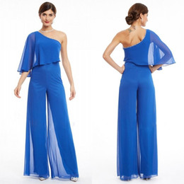 $enCountryForm.capitalKeyWord NZ - Trendy 2019 Mother of The Bride Pant Suits Rhinestones Beaded Asymmetrical Neckline One Sleeve Royal Blue Chiffon Women Jumpsuits