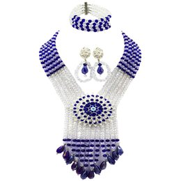 $enCountryForm.capitalKeyWord UK - Royal Blue Clear AB African Beads Jewelry Set Crystal Necklace with Big Flower Brooches Nigerian Wedding Accessories 6SDLS04