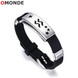 $enCountryForm.capitalKeyWord Australia - 12 Zodiac Bracelets Virgo Libra Scorpion Constellation Sign Charms Black Silicon Horoscope Band for Men Women Jewelry Adjustable