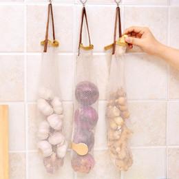 Round Kitchen Sets Australia - Mesh Grocery Bag Drawstring Wall Hanging Bag Kitchen Ginger Garlic Storage Reusable Organizer A30