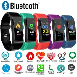 ip65 smart watch NZ - ID115 Plus Smart Wristband Bluetooth Smart Watch Heart Rate Monitor Wristwatch Fitness Tracker Bracelet IP65 Waterproof