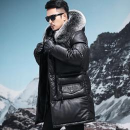 $enCountryForm.capitalKeyWord Australia - Leather Jacket Men Cow Leather Jacket Thick Winter Fox Fur Collar Hooded Mens Duck Down Coat Jaqueta De Couro 31-8818008M2 YY573